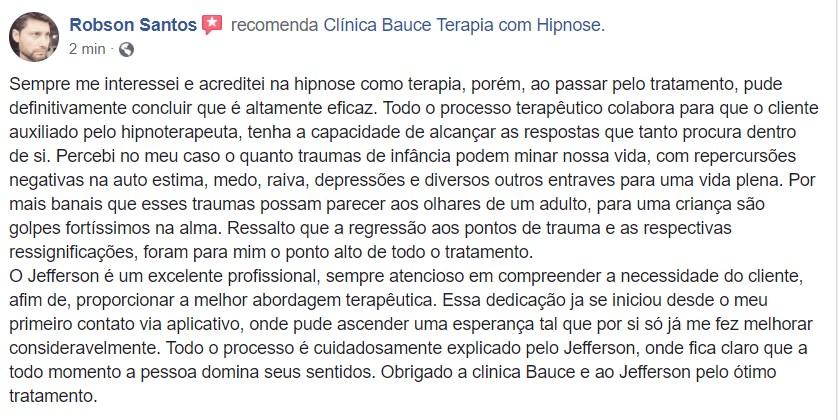 Depoimento paciente hipnose clinica - clinica bauce